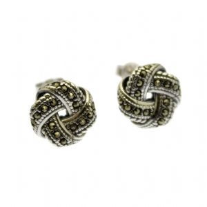 Marcasite Earrings Knot Design - Sterling Silver with Marcasite Inlay